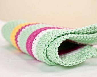 pot holders /  A picnic with the landlady //  white  yellow  spring green  hot pink   kitchen
