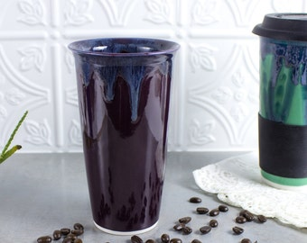 Ceramic Coffee Travel mug Eggplant Purple BlueRoomPottery with silicon lid sleeve handmade pottery Kitchen Valentine gift for him her