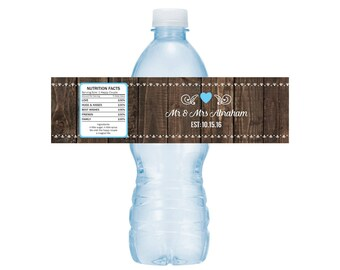 Water bottle labels wedding, Rustic Wedding Labels, Bridal Shower Drink labels, Rustic Drink Labels -- Set of 5 Labels