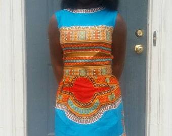 Beautiful Turquoise African dashiki print dress.
