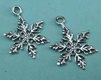 Sterling Snowflake Snow Flake Charm  2 PCs 925 sterling silver -14.3x18.5mm