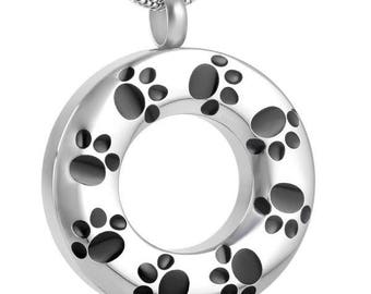 Cremation Jewelry/Round Paw Print Pet Cremation Pendant-Urn Necklace-Memorial Jewelry- Necklace for Ashes-Keepsake Jewelry