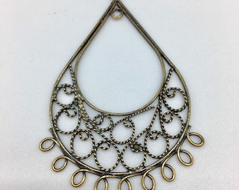 Print, Teardrop with scroll work pendant