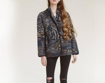 woven tiger jacket / shades of blue / tribal wool jacket / pockets