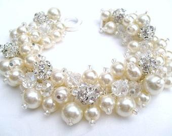 Set of 7 - Bridal Jewelry, Wedding, Pearl Bridesmaid Bracelet, Pearl and Rhinestone Bracelet, Cluster Bracelet, Pearl Bracelet, Ivory Pearl