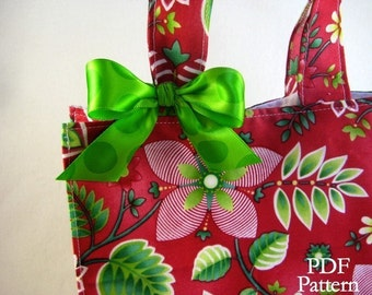 LunchSleeve (Instant Download) PDF Pattern- Lunch Bag, Lunch Sack, Gift Bag, Reusable Sack, Christmas Holiday Bag