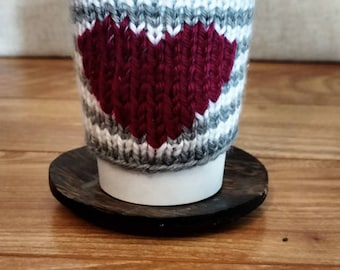 Reusable Grey and White Stripe with Maroon Heart Knit Beverage Sleeve