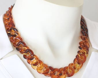 Fire-Touched Tortoiseshell Necklace with Acrylic Chain, Tortoise Shell Necklace Chunky, Plastic Chain Necklace, Tortoise Necklace Curb Chain