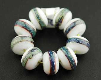 Teal Striped Handmade Lampwork Glass Bead Set by Lara