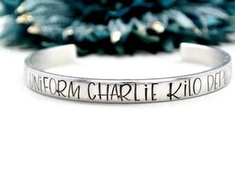 Foxtrot Uniform Charlie Kilo Deployment Bracelet | Deployment Gift For Her | Military Girlfriend | Swear Word Jewelry | Deployment Jewelry