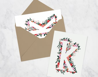 Set of 50 Floral Letter Flat Cards with Envelope | Custom Stationery | Hand illustrated | Thank You Cards | Notecards | Floral Notecards