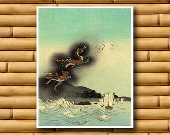 Japanese Dragon Art Poster Asian Wall Art Retro Decor Japanese Print (J70)