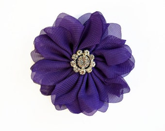 "Purple Chiffon Flower. 3"" Chiffon Flowers with Glass Rhinestone Center. QTY: 1 Flower ~Brea Collection"