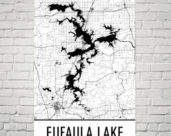 Eufala Lake Oklahoma, Lake Eufaula OK, Eufaula Lake Map, Oklahoma Map, Lake House Decor, Lake Map, Eufaula Lake Print, Eufaula Lake Art