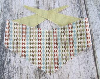 S-Md reversible tie on dog bandana - Navajo pattern/sage stripes Kanine Kerchief