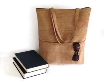 Cork Tote Bag, Large Vegan Shoulder Bag, Gift for Women