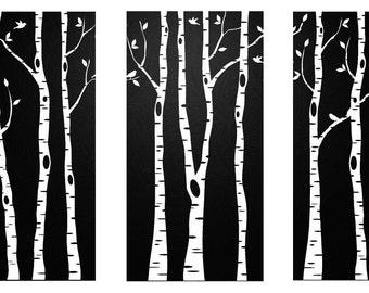 Triptych of Birches in Black&White Counted Cross Stitch Pattern PDF Chart Unique Original Modern Design