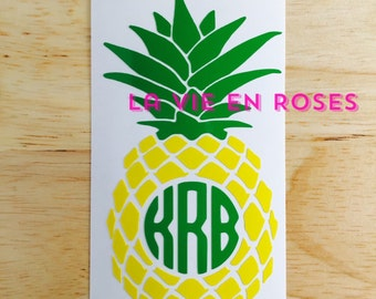 Pineapple Decal, Monogram Decal, Yeti Decal, Instant Pot Decal, Car Decal, Computer Decal. Free shipping.