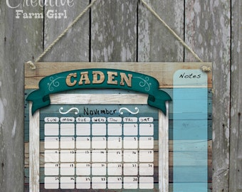 Blue Barn Wood Print Dry Erase Calendar Personalized name