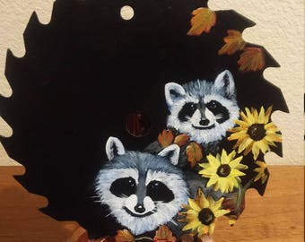 End of Summer racoons, sunflowers and racoons, hand painted saw blade, Fall and racoons