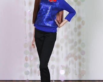 "Fashion Doll Sweater ""Snake Foil"" - blau"