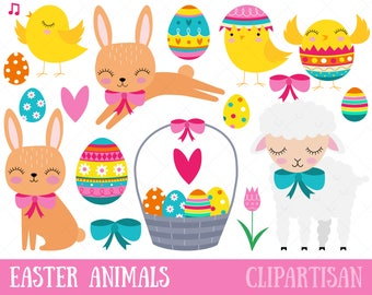 Easter Clipart, Easter Baby Animals, Chick, Bunny, Lamb, Easter Eggs, Easter Basket