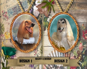 Afghan Hound Jewelry Handmade Pendant Afghan Hound Art Dog Jewelry Dog Charm Custom Dog Jewelry Personalized Dog Brooch Porcelain Jewelry