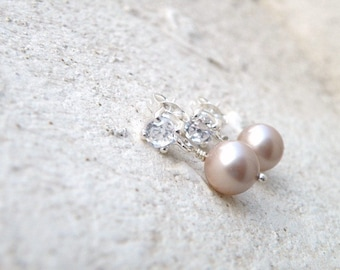 Swarovski Earrings Champagne Pearl Sterling CZ Stud BE19
