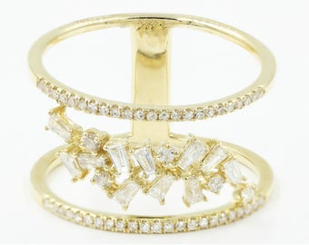 Mini Parallel Two-Band Leaf with Diamonds Ring