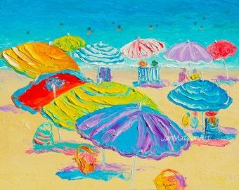 Florida, Beach decor, beach art, Destin Beach Painting, whimsical beach art, seascape, Etsy Art, coastal decor, beach house art, Jan Matson