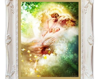 Angel, Angels, Guardian Angel, Religious Framed Art Print, Newborn Baby, Gift for New Mother, Wall Art, Decor