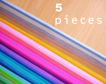 5 wool felt squares fabric pieces 20x30cm - Choose your colors -Irisfelt-