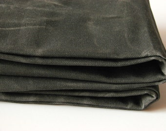 Hand Waxed Cotton Canvas Fabric - Dark Olive 12oz.