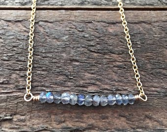 Labradorite Gemstone and 14 K Gold-filled Bar Necklace, Gemstone Bar Necklace, Dainty Minimalist Bar Necklace, Ready to Ship