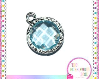 CUBIC ZIRCONIA AQUAMARINE Bright Silver Charm, Birthstone Charm, March Birthday Charm, Round Charm, Blue Charm, The Bubblegum Bead Company