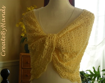 Women's Spring Lace Mesh Wrap Shawl Cotton Mobuis Yellow