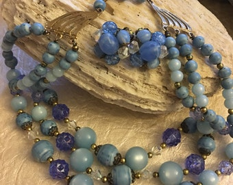 Baby blues lovely necklace and earring set