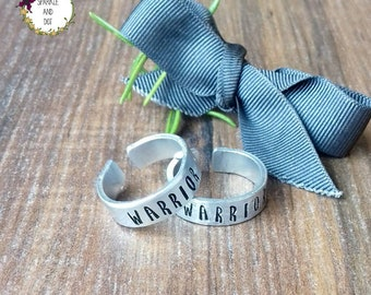 Warrior Jewellery, Hammered Chunky Metal Ring, Gifts For Strength, Hand Stamped Cuff Ring,
