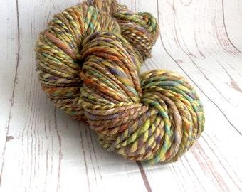 Handspun, multicolored yarn, plied, 2 ply, handdyed, soft, weaving, knitting, freeform fibre art, ilovepinkgeraniums