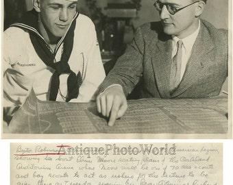 Bestor Robinson California environmentalist w boy sailor sea scout antique photo
