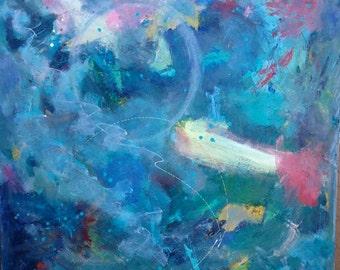 Art Swimming,  Acrylic Painting by Trish Vernazza