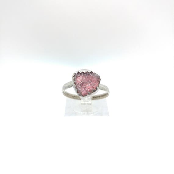 Pink Tourmaline Crystal Ring | Sterling Silver Ring Sz 8.25 | Raw Tourmaline Ring | Post Apocalyptic Cosplay | Pink Crystal Jewelry