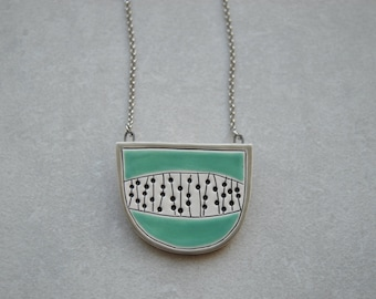Turquoise necklace, ceramic jewellery, geometric pendant, statement jewellery, gift for best friend, niece, daughter