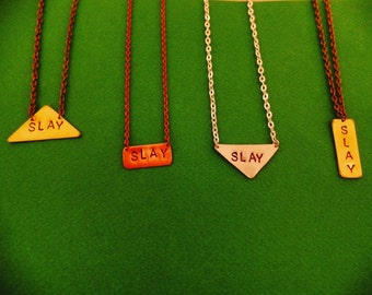 Slay Necklace, Handstamped Feminist Jewelry