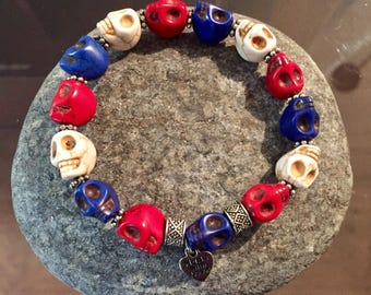 Red, White and Blue Skull beaded bracelet, Adult size, stone