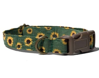 Sunflower Field  - Grass Green Sunflowers Flowers Floral Fall Organic Cotton CAT Collar Breakaway Safety - All Antique Metal Hardware
