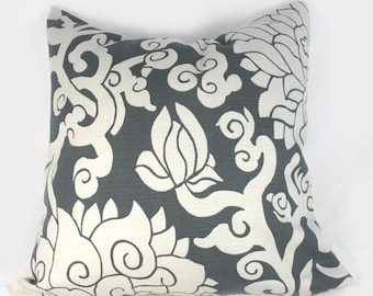 Thomas Paul - Blossom Smoke - Decorative Pillow Cushion Cover - Accent Pillow - Throw Pillow - 18 x 18 inch