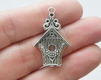 4 Bird house pendants antique silver tone B45