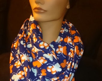 Infinity Scarf - Butterfly Blue and Orange Flannel Infinity Circle Mobius Scarf