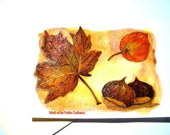 Unique postcard and envelope 10,5 x 14,8cm fall.